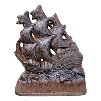 Cast Iron Sailing Ship Bookends Heavy Heirloom Quality