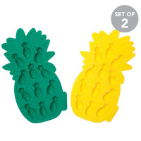 Sunnylife Australia Pineapple Silicone Ice Cube Trays - Set of 2 (Yellow and Coral)