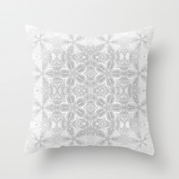 Gray Flowers Throw Pillow by 2sweet4words