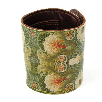 Leather Wallet Cuff / Bracelet Purse - Floral Embroidery
