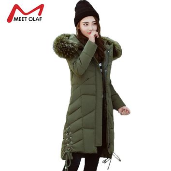 2017 Large Fur Hooded Winter Jackets Women Long Winter Parkas Female Side Lace up Coats Outwear chaquetas invierno mujer Y1433