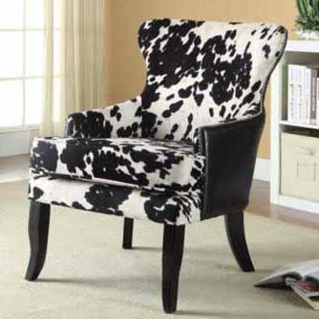 Microfiber Cow Print Accent Chair