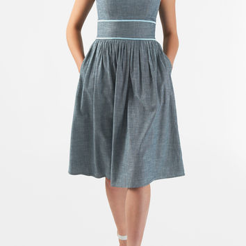 Contrast embroidered trim chambray denim dress