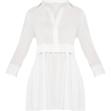 White Layer Shirt Dress