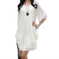 DKF4S Female Ladies Skater Casual Cocktail Chiffon Line Women Summer Dress Sweet Boho Dress Party Celebrity Half sleeve