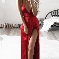 Red Spaghetti Straps Side Slit Backless Plunging Neckline Sleeveless Maxi Dress