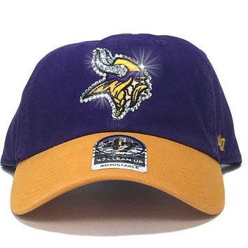Minnesota Vikings Two-Tone '47 Brand Adjustable Cap + Custom Swarovski Crystals