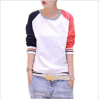 2016 women hoodies contrast color autumn long-sleeved shirt with a simple tee for holiday tops size M-XXL High quality