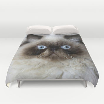 Funny Ragdoll Cat Duvet Cover by Erika Kaisersot