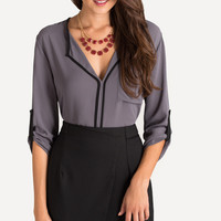Evelyn Grey Blouse With Black Trim