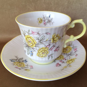 Queens Bone China, Rosina China Co, Made in England, Centenary Year, Yellow Trim, Floral Shabby Style, Vintage Cup Set, Collectable Queens,
