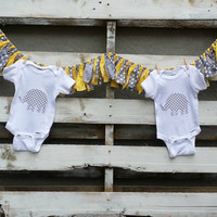 Grey and Yellow Chevron Polka Dot Rag Garland, Gender Neutral Baby Shower Fabric Garland with Onsets, Baby Photo Prop Rag Tie Garland