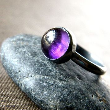 Amethyst Ring, February Birthstone Grape Purple Amethyst Oxidized Sterling Silver