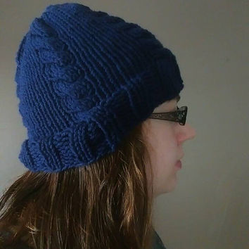 Navy Blue Knit Winter Hat Womens Warm Trendy Knitted Winter Hat
