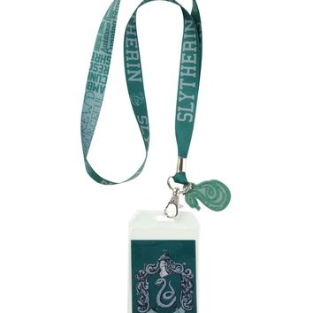 Licensed cool Harry Potter School House of SLYTHERIN ID Card Holder Neckstrap Lanyard W/ Charm