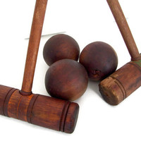 Croquet Mallets and Balls, Wooden, Vintage, Shabby, Lawn Game,  Rustic, Weathered Wood, Two Mallets, Three Balls