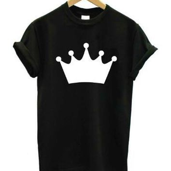 Girl Cute Graphic Tee Crown Princess Harajuku T-Shirt Casual O-Neck Tumblr Crown Print Tops Summer Fashion Clothing tshirts