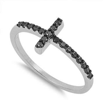 Women's Christ Black CZ Cute Cross Ring New .925 Sterling Silver Band Sizes 4-12