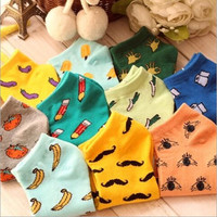 Cute fruit color love candy color cotton socks for girl women's socks for all seasons women vegetables fruit pattern thin socks