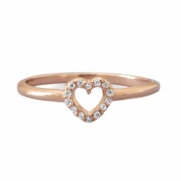 14 Karat Rose Gold Plated Cubic Zirconia Open Heart Ring