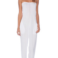 Indah Crush Bandeaux Jumpsuit in White