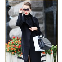 Pure Color Loose Thin Pocket Long Coat