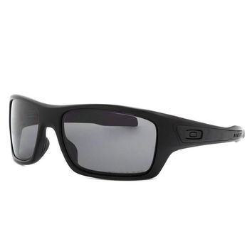 Oakley Turbine Sunglasses Matte Black Frame Polarized Warm Grey Lens OO9263-07
