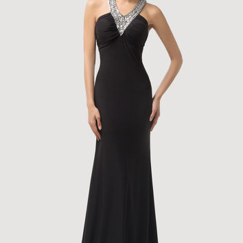 Black Beaded V-Neck Cross CutoutMaxi Evening Dress