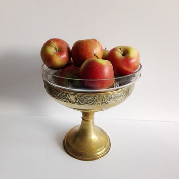 Pedestal bowl, fruit bowl, art deco, french vintage, vintage bowl, footed bowl, pedestal, centerpiece, bowl, glass bowl, vintage brass