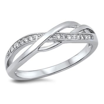 Choose Color Womens Infinity Wedding Band Rhodium Plated Sterling Silver Twisted infinity Knot Wedding Ring