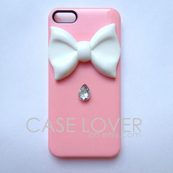 Light Pink and White with Jewel Couture iPhone 5 iPhone 4 4S Case