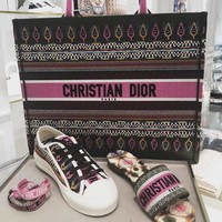Dior Book Tote Bag In Embroidered Canvas #596
