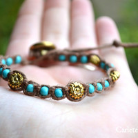 Turquoise and Golden Flowers with Vintage Button Finding, Brown Knotted Hemp Cording