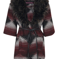 Camille Fur Collar Aztec Coatigan