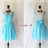 A Party V Shape - Prom Party Cocktail Bridesmaid Dinner Wedding Night Dress Light Tiffany Blue Sweet Gorgeous Glamorous Dress