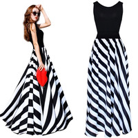 Sexy Women's Summer Boho Striped Long Maxi Evening Cocktail Party Dress = 1946454468