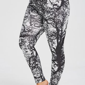 Tree Branch Print Plus Size Gym Leggings