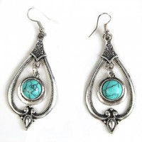 Turquoise Water Drop Earrings with Small Round Stone