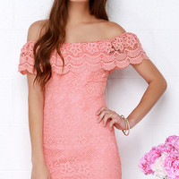 Islands in the Stream Coral Lace Off-the-Shoulder Dress