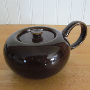 Rare American Modern Russel Wright Sugar Bowl with Lid Black Chutney Steubenville