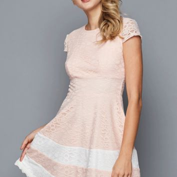 Teeze Me | Fit And Flare Lace Scallop Hem Dress  | Blush/Off-White