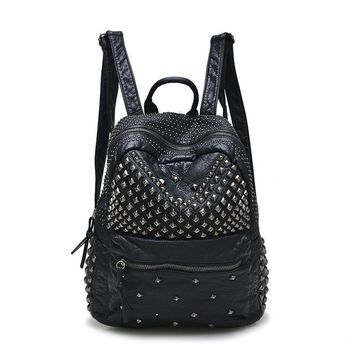 Cool Backpack school DORANMI Hip Hop Style Rivet Backpack For Women 2017 Fashion Brand Designer School Bags Cool Street Wear PU Leather Backpack AT_52_3