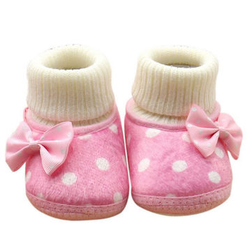 Newborn Baby Girl Bowknot Fleece Snow Boots Soft Baby Shoes Booties White Princess Shoes