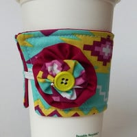 Tribal Coffee Cup Cozy , Aqua Drink Sleeve , Magenta Pink , Lime Green