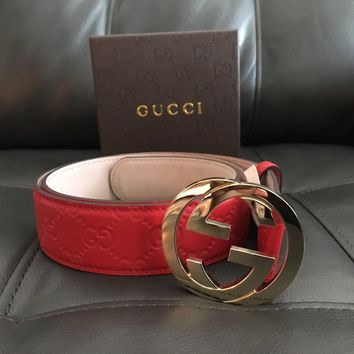 Gucci Red Belt Interlocking G Buckle Leather Size 32-34