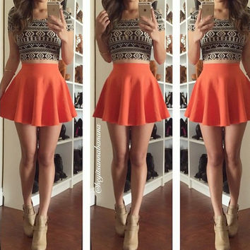 Black Tribal Print Cropped T-shirt and Orange Skater Skirt
