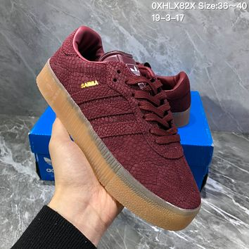 DCCK2 A959 Adidas Sued Fashion Casual Thick Bottom Flatform Shoes Wine Red