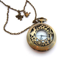 March Hare Pocket Watch Necklace, Alice In Wonderland Jewelry, Clock Necklace