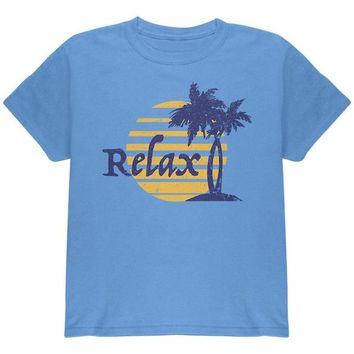 Chenier Summer Sun Relax Palm Tree Youth T Shirt