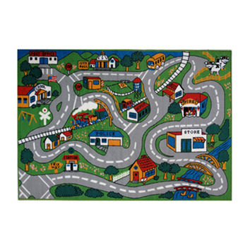 Fun Rugs Fun Time Collection Home Kids Room Decorative Floor Area Rug Country Fun -8'X11'